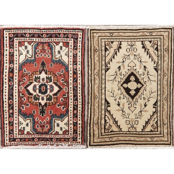 "Set of 2 Vintage Hamedan Oriental Hand Knotted Wool Persian Rug - 2'3"" x 1'8"" Square"
