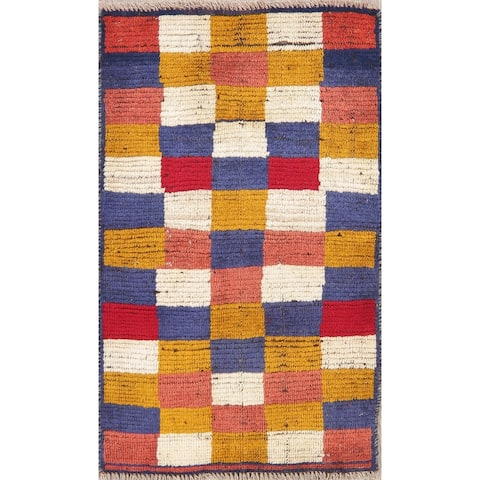 """Vintage Gabbeh Color Block Oriental Hand Knotted Wool Persian Area Rug - 2'10"""" x 1'8"""""""