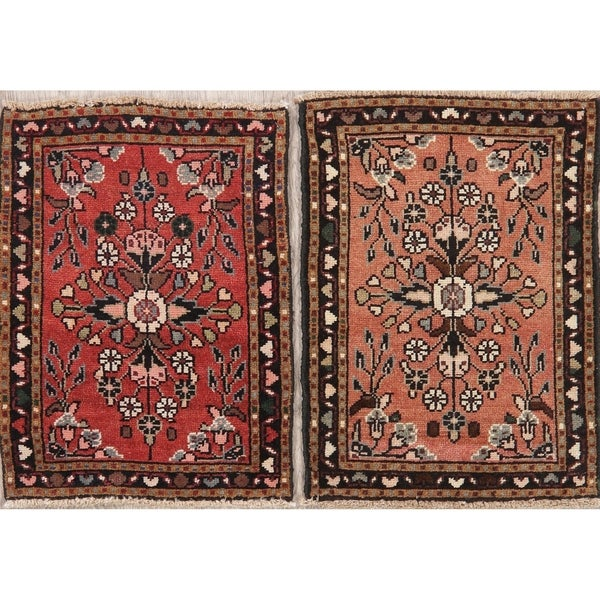 """Set of 2 Vintage Hamedan Oriental Hand Knotted Wool Persian Rug - 2'4"""" x 1'9"""" Square"""