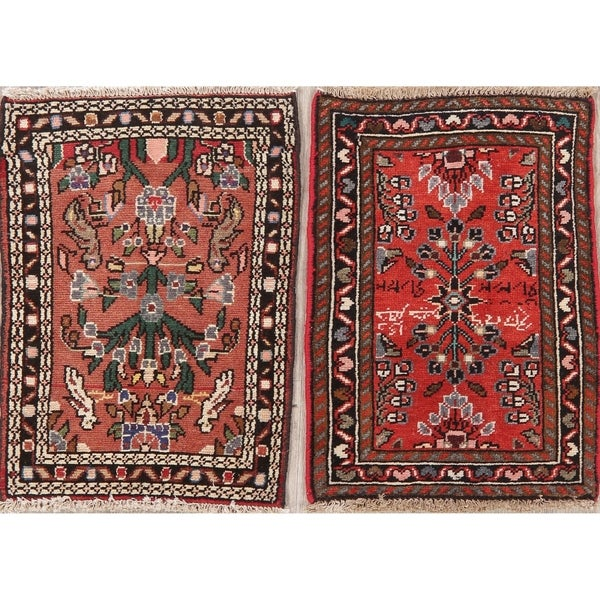 """Set of 2 Vintage Hamedan Oriental Hand Knotted Wool Persian Rug - 2'2"""" x 1'7"""" Square"""