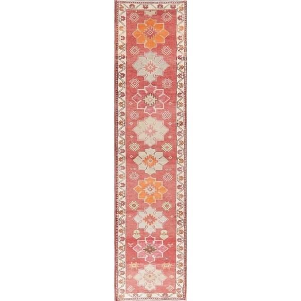 "Vintage Oushak Oriental Hand Knotted Wool Turkish Rug - 12'1"" x 2'11"" Runner"