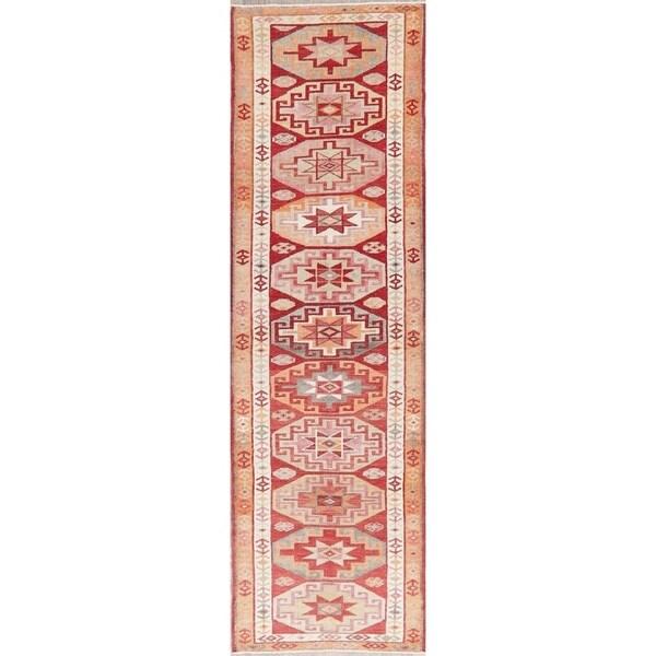 "Vintage Oushak Oriental Hand Knotted Wool Turkish Rug - 11'0"" x 2'10"" Runner"