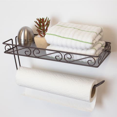 Wall Mounted Paper Towel Holder with Basket, Bronze