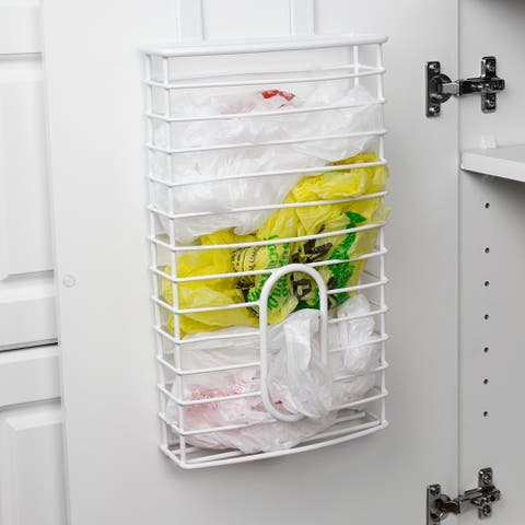 OTC Plastic Bag Organizer and Grocery Bag Holder, White