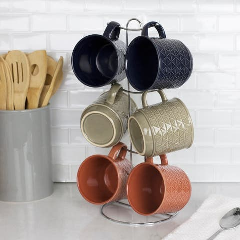 Chequer 6 Piece Mug Set with Stand, Multi-Color
