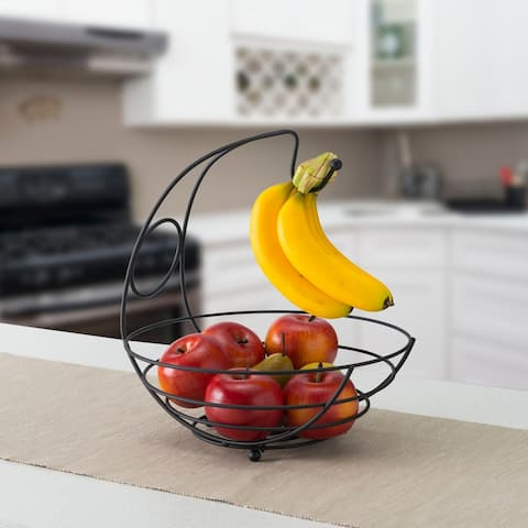 Wire Collection Fruit Bowl with Banana Tree, Black