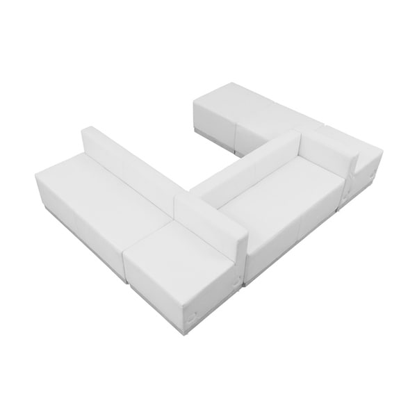 Offex 6 Piece Contemporary Melrose White Leather Reception Configuration [OFX-274330-FF]