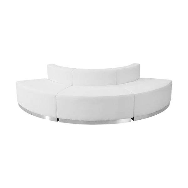 Offex 3 Piece Contemporary Melrose White Leather Reception Configuration [OFX-237258-FF]