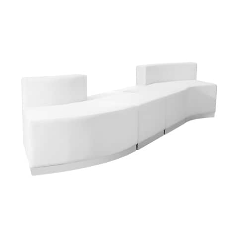 Offex 4 Piece Contemporary Melrose White Leather Reception Configuration [OFX-237270-FF]