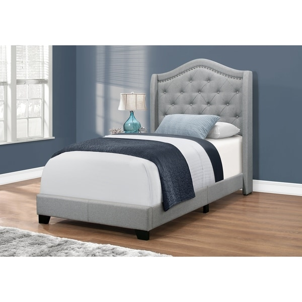 Bed - Twin Size / Grey Linen With Chrome Trim