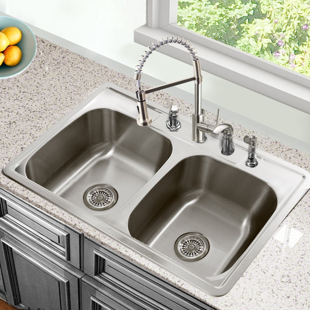 Shop 33 Inch Drop In Stainless Steel Double Bowl Kitchen Sink   33