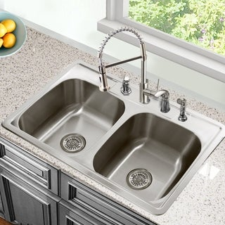 33 Inch Drop-In Stainless Steel Double Bowl Kitchen Sink - 33 x 22 x 8 inches