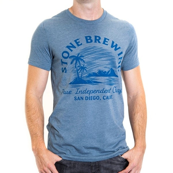 Stone Brewing Oasis Mens Blue Tee Shirt