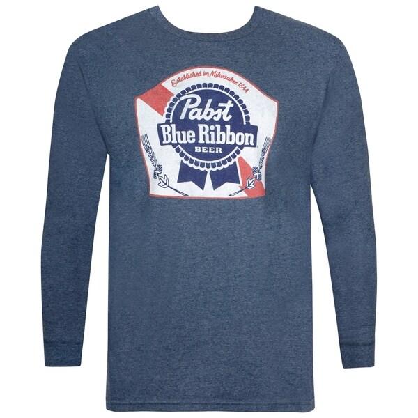 Pabst Blue Ribbon Long Sleeve Navy Blue Tee Shirt