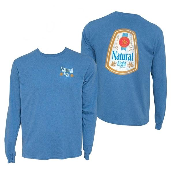 Natural Light Long Sleeve Blue Double Sided Print Tee Shirt