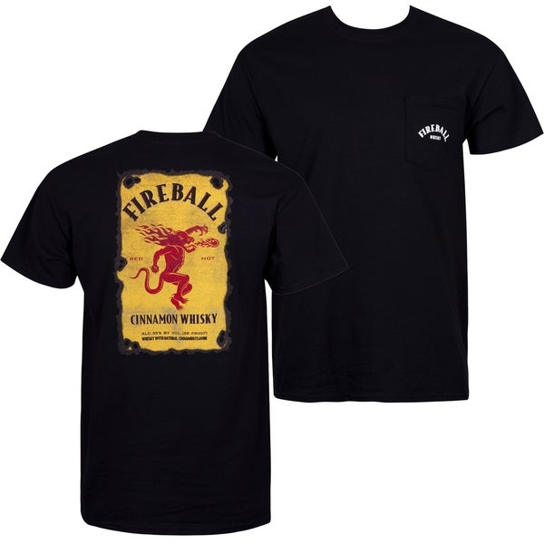 Fireball Cinnamon Whiskey Black Pocket Tee Shirt