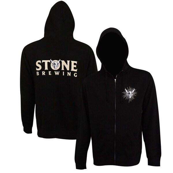 Stone Brewing Text Logo Black Mens Zip-Up Hoodie