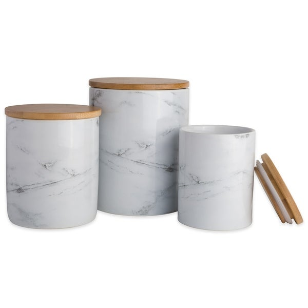 DII Marble Ceramic Canister (Set of 3)
