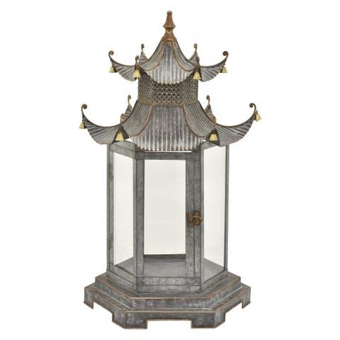 "36 "" Metal Decorative Lantern in Gray - 20 x 17.5 x 36"