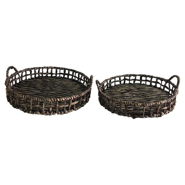 """5.75 """" Water hyacinth Tray S/2 in Brown - 19.25 x 19.25 x 5.75 17x17x5.5"""