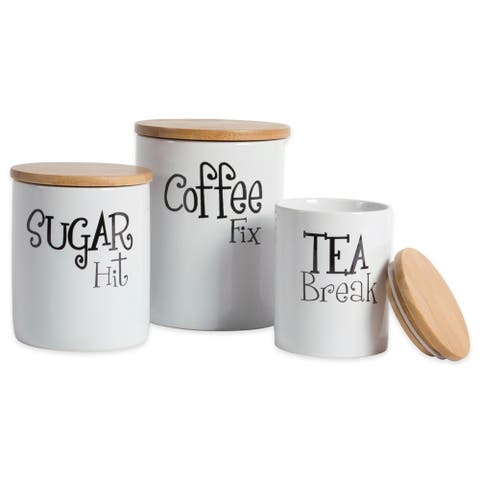 DII Coffee/Sugar/Tea Ceramic Canister (Set of 3)