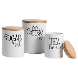 DII Coffee/Sugar/Tea Ceramic Canister (Set of 3)