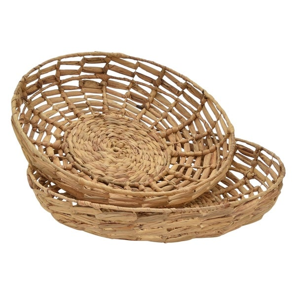 """3.75 """" Water hyacinth Tray S/2 in Brown - 19.5 x 19.5 x 3.75 17.5x17.5x3"""