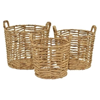 "16.75 "" Water hyacinth Basket S/3 in Brown - 17.5 x 17.5 x 16.75 15x15x15 13x13x14"