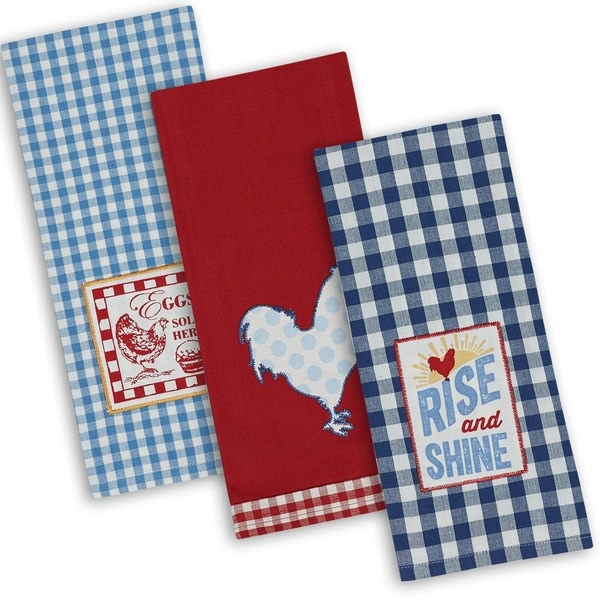 DII Assorted Rise & Shine Embroidered Dishtowel (Set of 3)