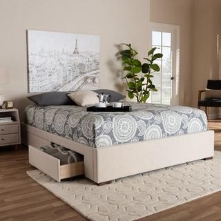 Contemporary Fabric Platform Storage Bed Frame