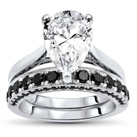 2.60ct Pear Moissanite Black Diamond Engagement Ring Bridal Set 14k White Gold (10x7mm)