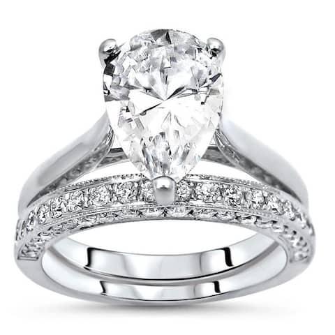 2.40ct Pear Moissanite Diamond Engagement Ring Bridal Set 14k White Gold (10x7mm)