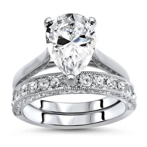 2.60ct Pear Moissanite Diamond Engagement Ring Bridal Set 18k White Gold (10x7mm)