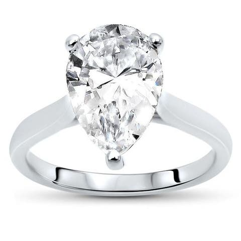 1.80ct Pear Shape Moissanite Solitaire Engagement Ring 14k White Gold (10x7mm)