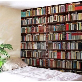 """Colorful Bookshelf Tapestry Wall Hanging 83"""" x 59"""" (#21)"""