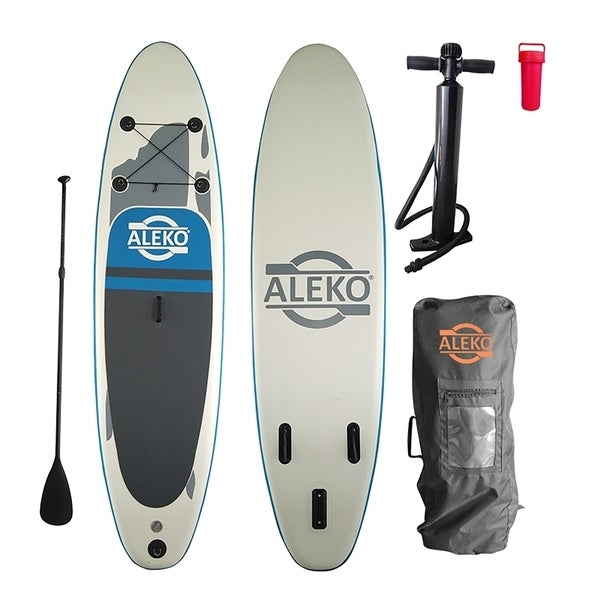 ALEKO SUP Inflatable Stand Up Paddle 10' Board 3 Fins with Carry Bag - 6 x 31 x 120 inches