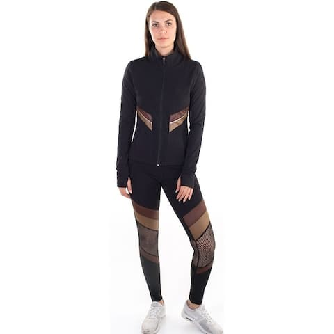 Women's Active Set Jacket and Leggings with Mesh Blocking Contrast