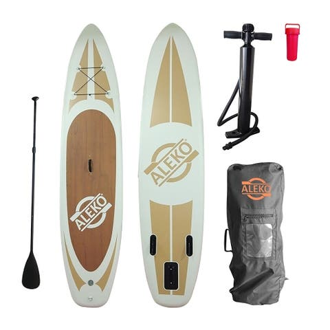 ALEKO SUP Inflatable Stand Up Paddle 11' Board 3 Fins with Carry Bag - Wood Grain - 6 x 30 x 132 inches