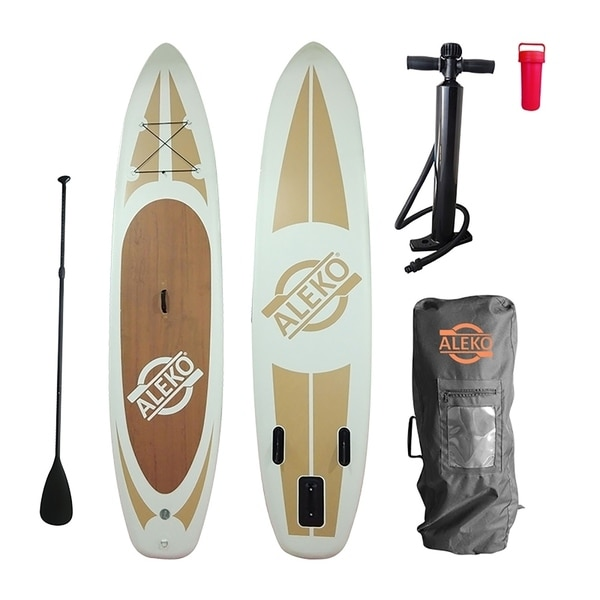 ALEKO SUP Inflatable Stand Up Paddle 11' Board 3 Fins with Carry Bag - Wood Grain - 6 x 30 x 132 inches. Opens flyout.
