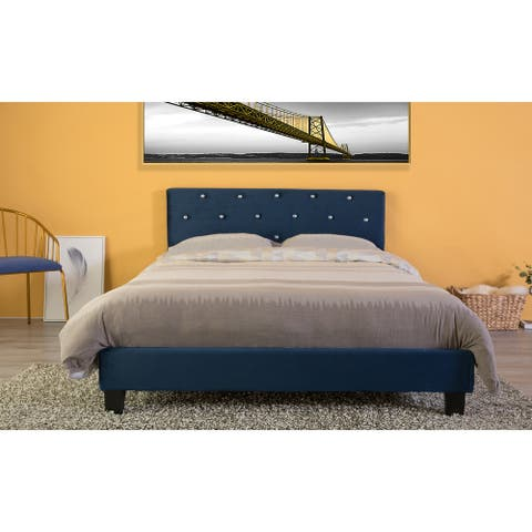 Velvet Tufted Platform Bed Frame Full Size