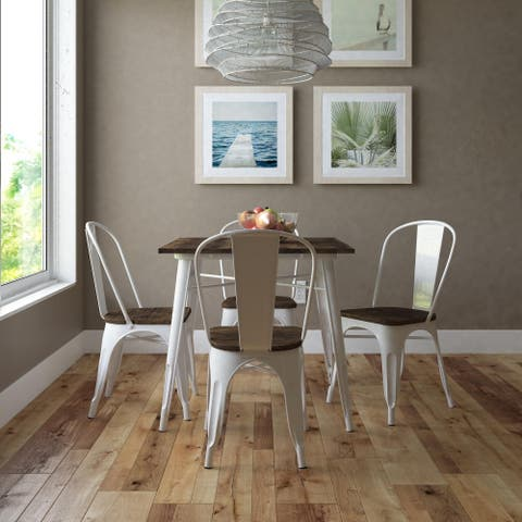 DHP Fusion Square Dining Table with Dining Chairs (5 Piece Set)