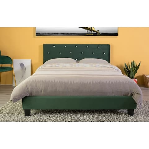 Velvet Tufted Platform Bed Frame Queen Size