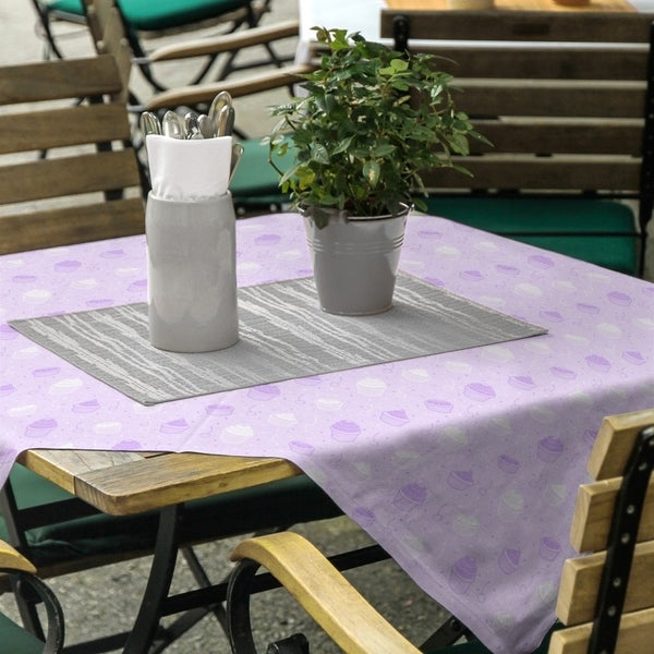 Striped Cupcake Pattern Square Tablecloth - 58 x 58