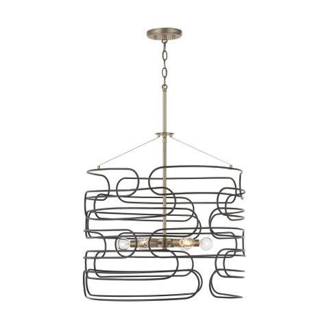 Arlo 6-light Aged Brass/Black Pendant