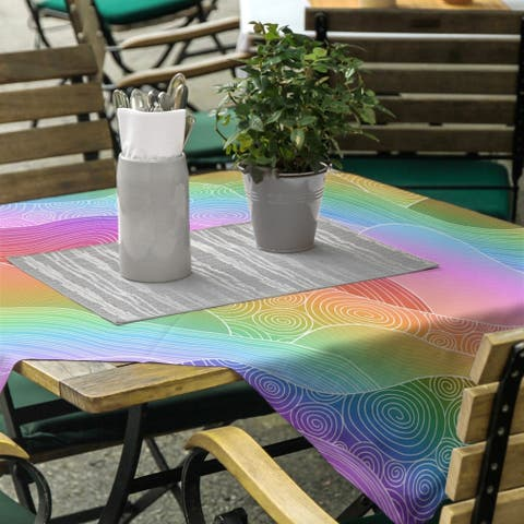 Ombre Hand Drawn Waves Square Tablecloth