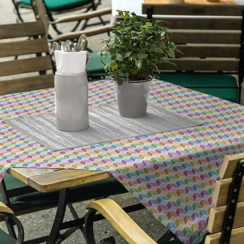 Rainbow Cube Pattern Square Tablecloth
