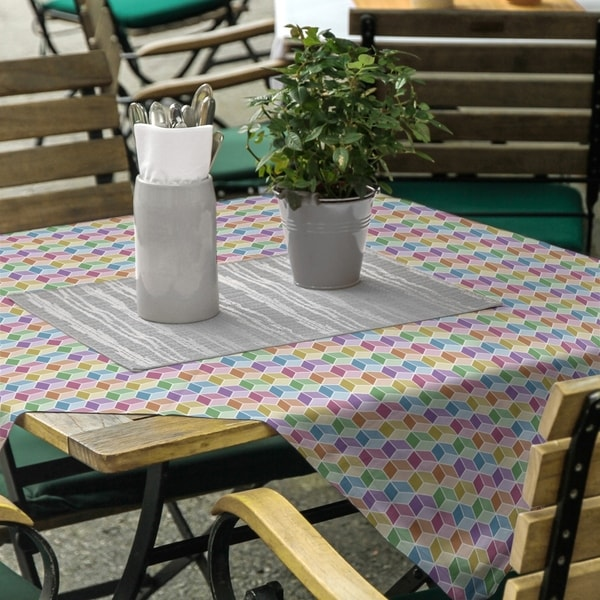 Rainbow Cube Pattern Square Tablecloth - 58 x 58