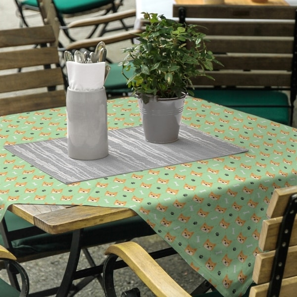 Shiba Inu Pattern Square Tablecloth. Opens flyout.