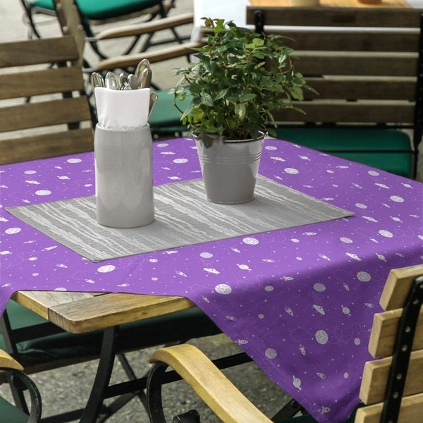 Outer Space Pattern Square Tablecloth - 58 x 58