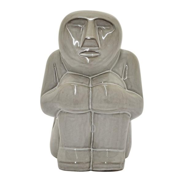 """8.75 """" Ceramic Moai Statue in Gray - 6 x 5.25 x 8.75"""